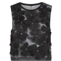 Robert Rodriguez Flower Appliqué Top ($490) ❤ liked on Polyvore featuring tops, flower crop top, flower top, robert rodriguez, cut-out crop tops and crop top