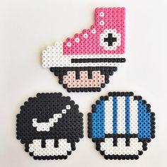 Converse, Nike and Adidas mushrooms hama beads by Molly & Selma