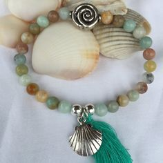 Ocean Agate Boho Beaded Stretch Bracelet (6mm) with Sterling Silver Bead Focal Point .925 Sterling Silver Beads Tassels and Starfish Charm by DreamCuff