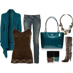 """Blue and Brown. How I love you."" by chelseawate on Polyvore"