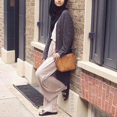 Charcoal Long Cardigan + Stone Palazzo Pants + White Crepe Top | INAYAH www.inayahcollection.com #inayah#hijabfashion#modestfashion