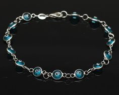 Sterling Silver Evil Eye Bracelet  Turquoise by SilverLiningStr