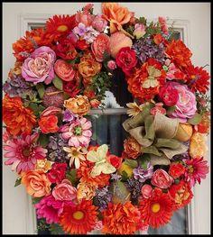 Summer Wreath - Peach Wreath - Front Door Wreaths for Summer