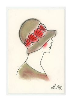 "Art Deco Artwork - Original drawing - Little Poppy in a green and red hat! 4"" X 6"""