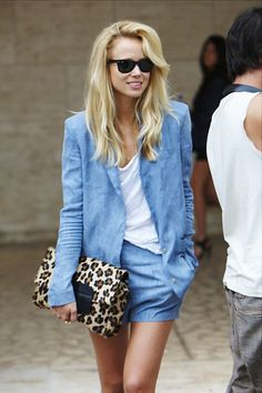 love this chambray shorts suit