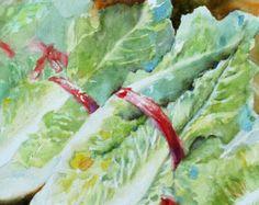 Watercolor+Paintings+of+Vegetables   Vegetable art Lettuce Original Wate rcolor Painting ...