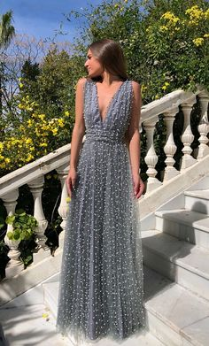 Gorgeous Grey Tulle V Neck Long Prom Dress For Teens, Evening Dress - 2020 New Prom Dresses Fashion - Fashion Of The Year Tulle Prom Dress, Grad Dresses, Dress Outfits, Evening Dresses, Party Dress, Dress Up, Prom Dresses For Teens Long, Grey Prom Dress, Wedding Dresses