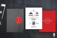 Προσκλητήριο γάμου με hipster στοιχεία. #προσκλητήριο #γάμου #hipster #wedding #invitation