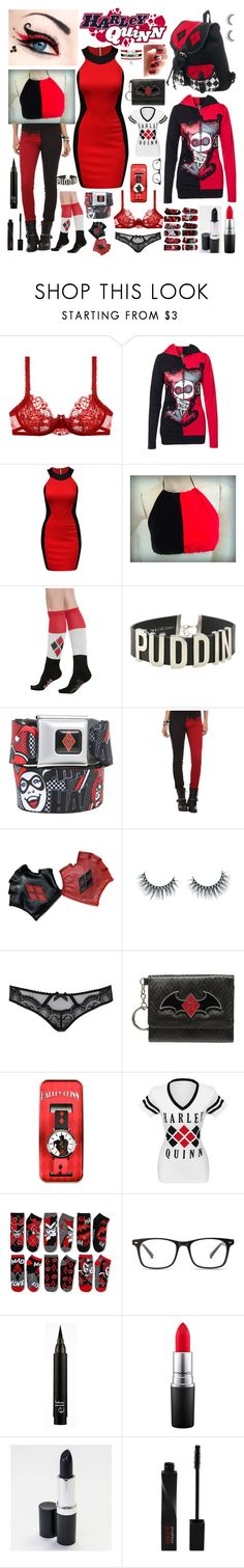 """Harley Quinn"" by frankie-and-gee ❤ liked on Polyvore featuring La Perla, Jane Norman, Hot Topic, Tripp, Unicorn Lashes, L'Agent By Agent Provocateur, Bioworld, MAC Cosmetics and Smashbox"