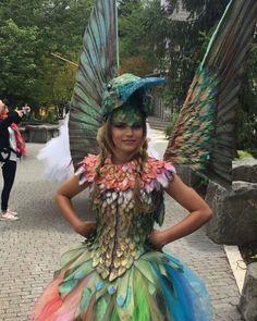 Les adultes rainbow feather wings femmes homme oiseau perroquet pride accessoire robe fantaisie