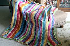 Love this Granny-Stripe blanket, especially the colors...