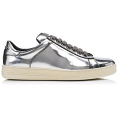 METALLIC LEATHER LOW TOP SNEAKER (17,925 MXN) ❤ liked on Polyvore featuring shoes, sneakers, leather footwear, leather sneakers, low top, low profile shoes and metallic sneakers
