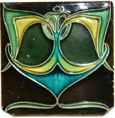 Art Nouveau (Jugendstil) tile with stylized decorations