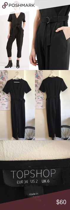 TOPSHOP BELTED WRAP JUMPSUIT SIZE 2 (US) Great condition, worn only a few times last season. I'm 5'7 and 130lbs and it's a perfect fit. Fits true to topshop size Topshop Other