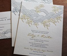 Gold and blue is one of the many color schemes you can use for this incredible wedding invitation