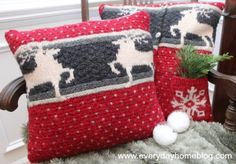 A creative use for old sweaters - pillows for your holiday decor! Click through for more adaptive reuse ideas for no longer needed pull-overs.