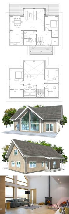 Small Modern Home with three berdooms. Small Modern Home with three berdooms. Small House Floor Plans, Family House Plans, Dream House Plans, The Plan, How To Plan, Dream Home Design, Modern House Design, Small Modern Home, House Layouts