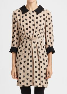 Adorable cat print dress work/play