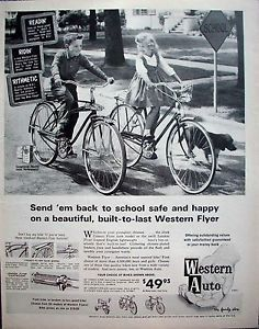 Items similar to Western Flyer Bicycle Ad 1963 Western Auto Bike Advertisement Back to School Print Chidren Bike Riding Photo Wall Art Decor on Etsy Vintage Menu, Vintage Bicycles, Vintage Ads, Retro Advertising, Vintage Advertisements, Cool Bicycles, Cool Bikes, Bicycle News, Tech News Today