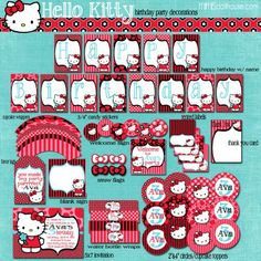 HELLO KITTY PARTY PRINTABLE COLLECTION (RED) http://mimisdollhouse.com/product/hello-kitty-party-printable-collection-red/  #HelloKitty #HelloKittyParty #BirthdayParty