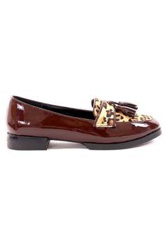 Leopard Pattern Tassel Loafer Shoes in Wine #ChicWish