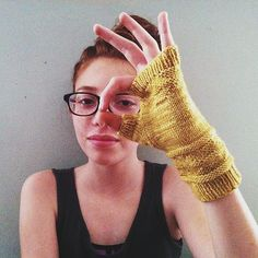 September Fingerless Gloves by Courtney Spainhower. malabrigo Sock, Ochre colorway.