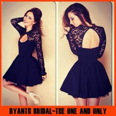 Popular Lace Short Prom Dresses 2014 With Long Sleeves Open Back Little Black Evening Dress