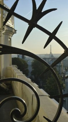 Still another view of the Eiffel Tower, through an antique architectural grill.