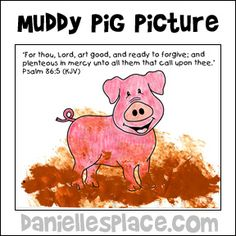 The Prodigal Son Muddy Pig Activity Sheet for Sunday School and Children's Ministry from www.daniellesplace.com