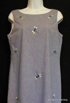 Dress Dragonfly Embroidered Size 8 dépèche mode Blue Gingham Check Shift Womens