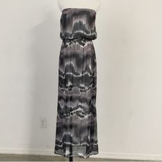 """Strapless Chiffon Maxi Dress Super cute maxi dress! Perfect for summer and even into the warmer fall months! Tie dye effect, chiffon....100% polyester.  Lined (lined to about mid thigh then sheer) Measures about 47"""" inches in length, cinched waist.  Please ask any questions! Always here to help! Thanks for visiting  Boutique Dresses Maxi"""