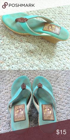 🌴 Turquoise Island Slipper Wedges 🌴 Turquoise wedge heel sandals. Good condition, minor wear on the toes. So comfortable but a little too big for me. Island Slipper Shoes Sandals