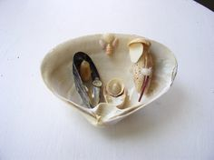 The nativity scenes are approximately 5 inches by 3 inches in size. Each is handcrafted with real shells. Each scene includes the Baby Jesus, Mother Mary and Saint Joseph with unique details added such as angels, stars, or maybe even a little lamb. Nativity Ornaments, Shell Ornaments, Christmas Nativity Scene, Nativity Crafts, Christmas Crafts, Christmas Decorations, Nativity Scenes, Christmas Ornaments, Seashell Crafts