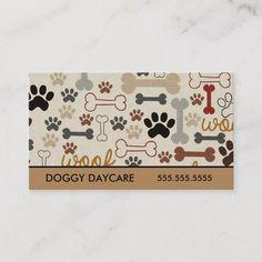 Pet Sitting Dog Bones and Paws Business Card Custom Business Cards, Business Card Size, Business Card Design, Business Logo, Pet Sitting Business, Dog Walking Business, Dog Grooming Shop, Dog Grooming Business, Pet Shop
