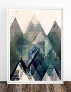Mountains print, Abstract print, geometric wall art, abstract mountain, minimalist art, modern art, scandinavian print, minimalist abstract, triangles print, nordic design