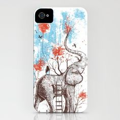 Elephants with fall leaves...how could this be that two of my favorites are on a phone case!