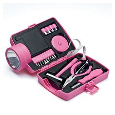 Ladies' Flashlight Tool Kit -- Flashlight case flips open to reveal a hidden toolbox. Uses 4 AA batteries (not included). Pink Love, Pretty In Pink, Pink Tool Box, Girls Nail Designs, Things To Buy, Pink Things, Random Things, Tools For Women, Everything Pink