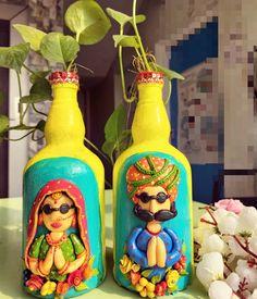 Wine Bottle Art, Glass Bottle Crafts, Diy Bottle, Glass Bottles, Glass Painting Designs, Pottery Painting Designs, Clay Projects, Clay Crafts, Diy Embroidery Flowers