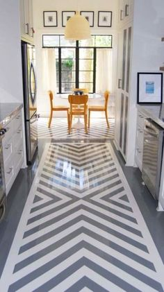 Painted floor Before and After: Remodeled Houston Home - Traditional Home painted concrete floors Small bathroom organization and storage Ta. Beautiful Kitchens, House Design, House, Interior, Floor Design, Home, Painted Wood Floors, New Homes, Flooring