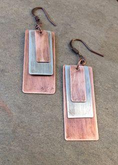 Mixed Metal Earrings / Silver and Copper Earrings / by Lammergeier