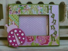 Ladybugs Personalized Pink Green Floral 5x7 Picture Frame Little Girl New Baby Shower Gift Garden