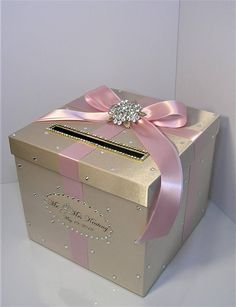 Wedding Card Box Champagne and Blush pink/light pink Gift Card