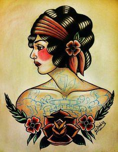 Old School Tattoos | Old School Flapper Tattoo Flash - Tattoo - School: TAT FLASH by Kiki ...