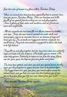 Quot Rainbow Bridge Quot Free Printable Poem Pet Loss Rainbow