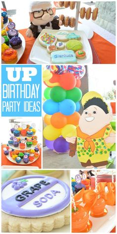 A colorful UP boy birthday party with balloons, adventure goodie bags, face painters and a balloon artist! See more party planning ideas at CatchMyParty.com!