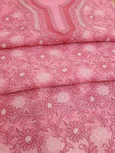 Lucknowi Chikankari Online Suit Length 3 piece Peach Cotton with very fine chikankari murri, shadow, aari & crochet work with designer neckline & pure chiffon dupatta