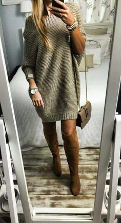 17 Best Sweater Outfits You Can Choose This Winter - My Daily Pins Sweater Fashion, Sweater Outfits, Dress Outfits, Fashion Outfits, Fashion Ideas, Winter Outfits Women, Loose Sweater, Knit Dress, Crochet Dresses