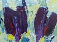 Paarse Tulpen, origineel schilderij met een formaat van 60 x 80 cm op linnen van Ad van Hassel. Voorzien van een mooie zilverkleurige baklijst. Geschilderd met acryl verf in heldere, frisse kleuren.