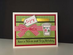 Merry Monday #188, Hot Bevvies!  I made a card with a front pocket to place a coffee shop gift card in.  Avery Elle Beautiful Bow tag and bow, Papertrey Ink Heart-2-Heart coffee cup, and Simon Says Stamp Inside Greetings stamps.  Avery Elle Double Pierced Rectangle die and Recollections Bright Christmas card stock paper.