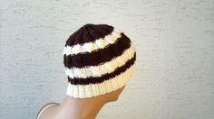 Knitted mens beanie unisex beret cable knit hat by KnitterPrincess, $24.00